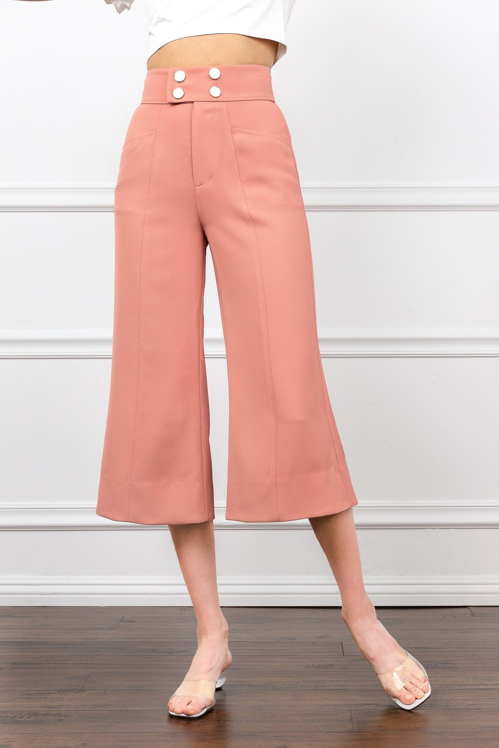 Coral Cropped Pants Wide Leg by J.ING for women's fashion