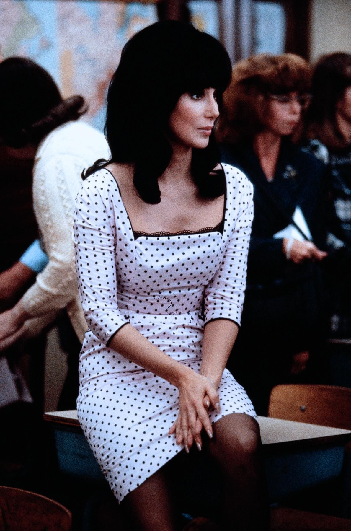Cher in white polka dot vintage dress in mermaids