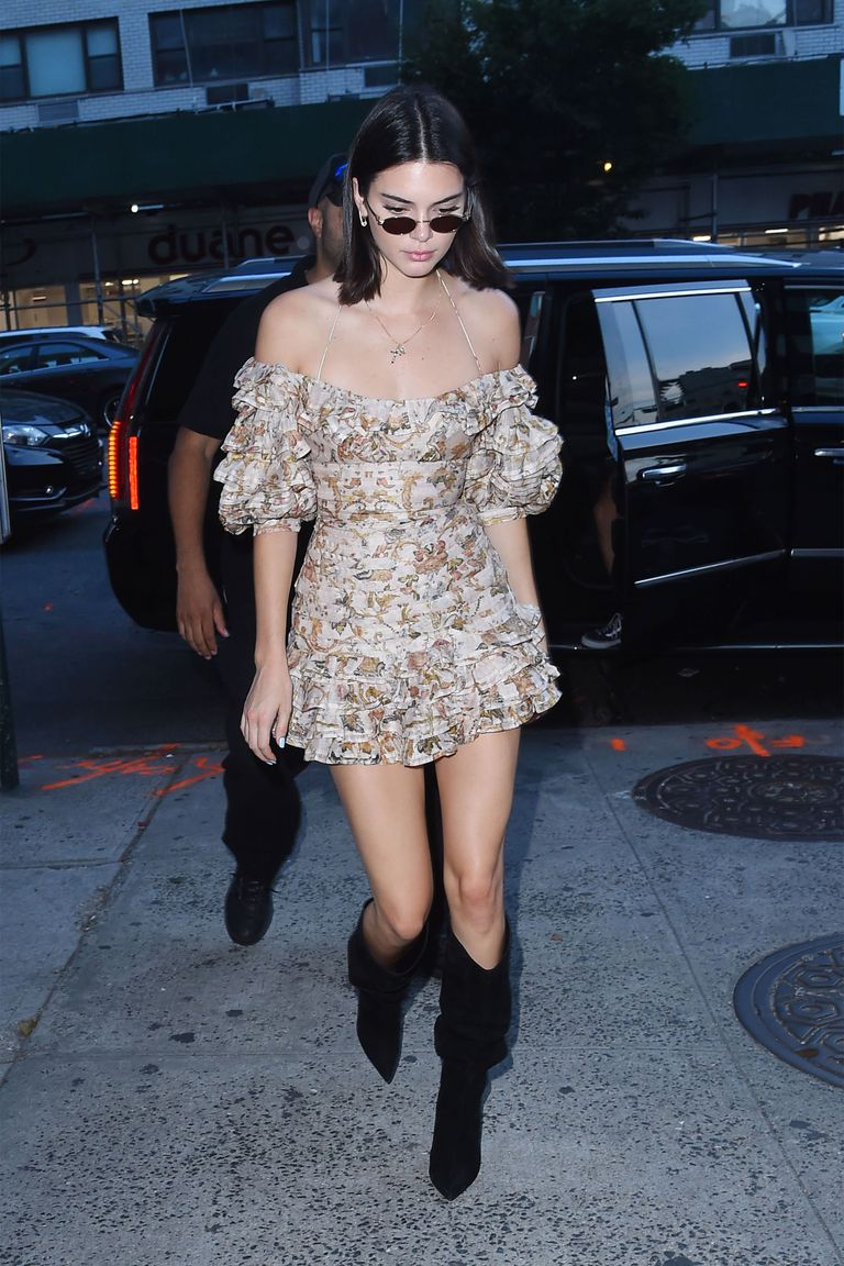 Kendall Jenner in Puffy Off the Shoulder Zimmerman dress