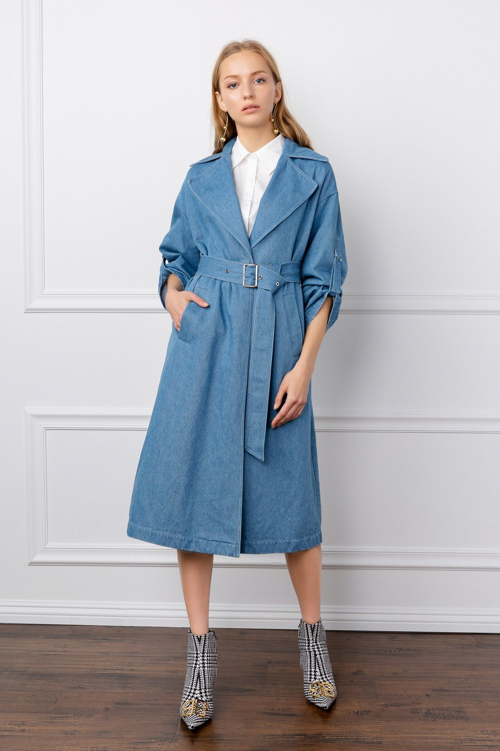Nadine Blue Jean Trench Coat by J.ING