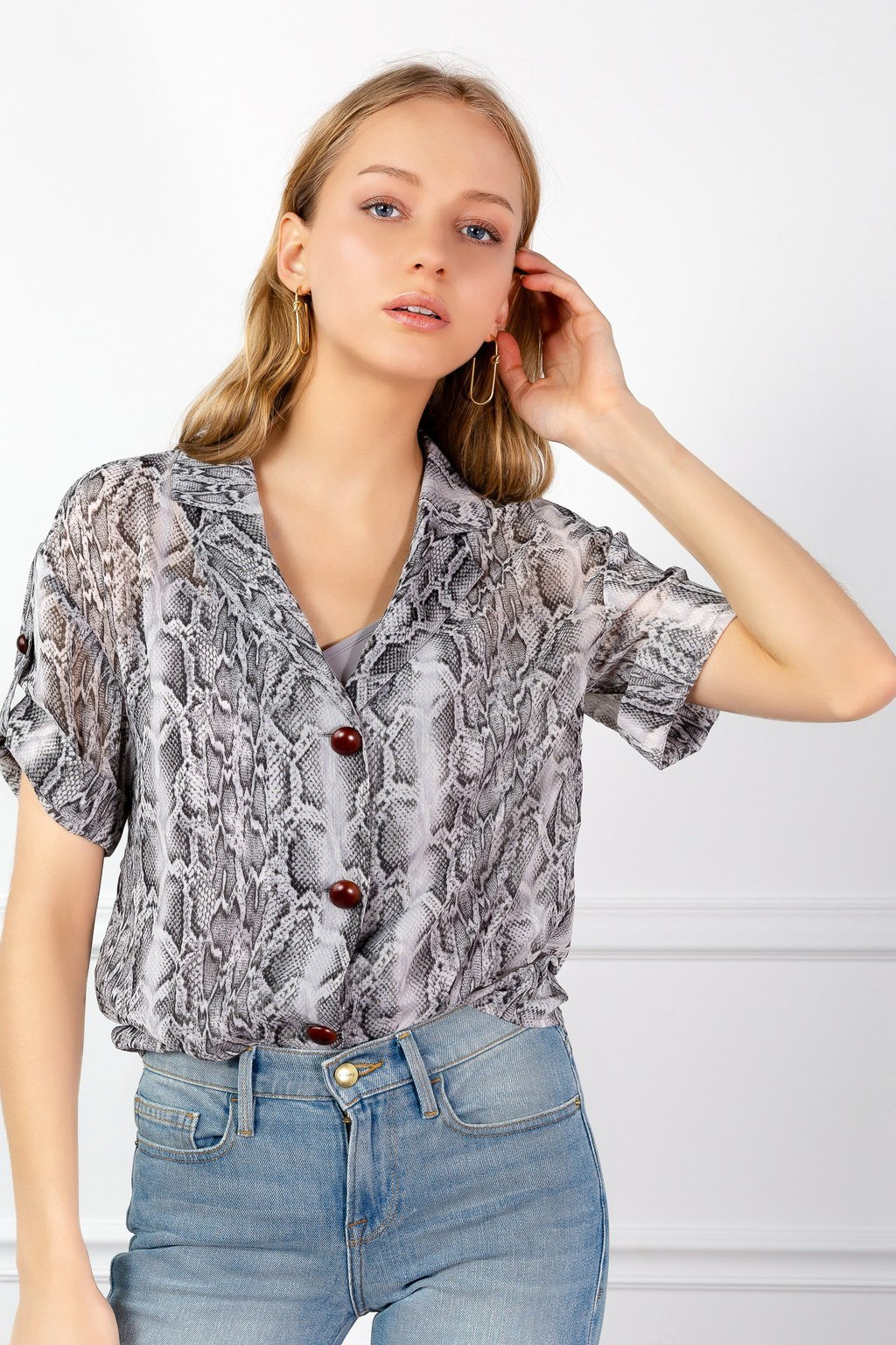 Snakeskin Shirt by J.ING LA women's fashion
