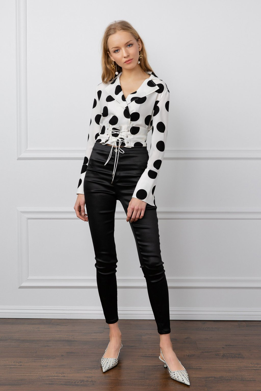 Louise Polka Dot Long Sleeve Top with Corset by J.ING women's fashion