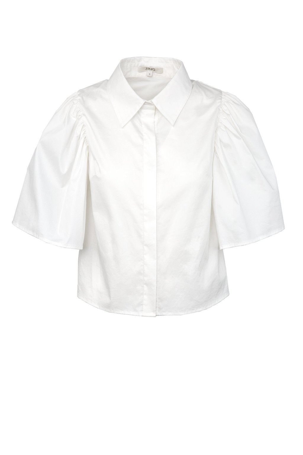 White Lecture Shirt with Flutter Sleeves by J.ING women's clothing