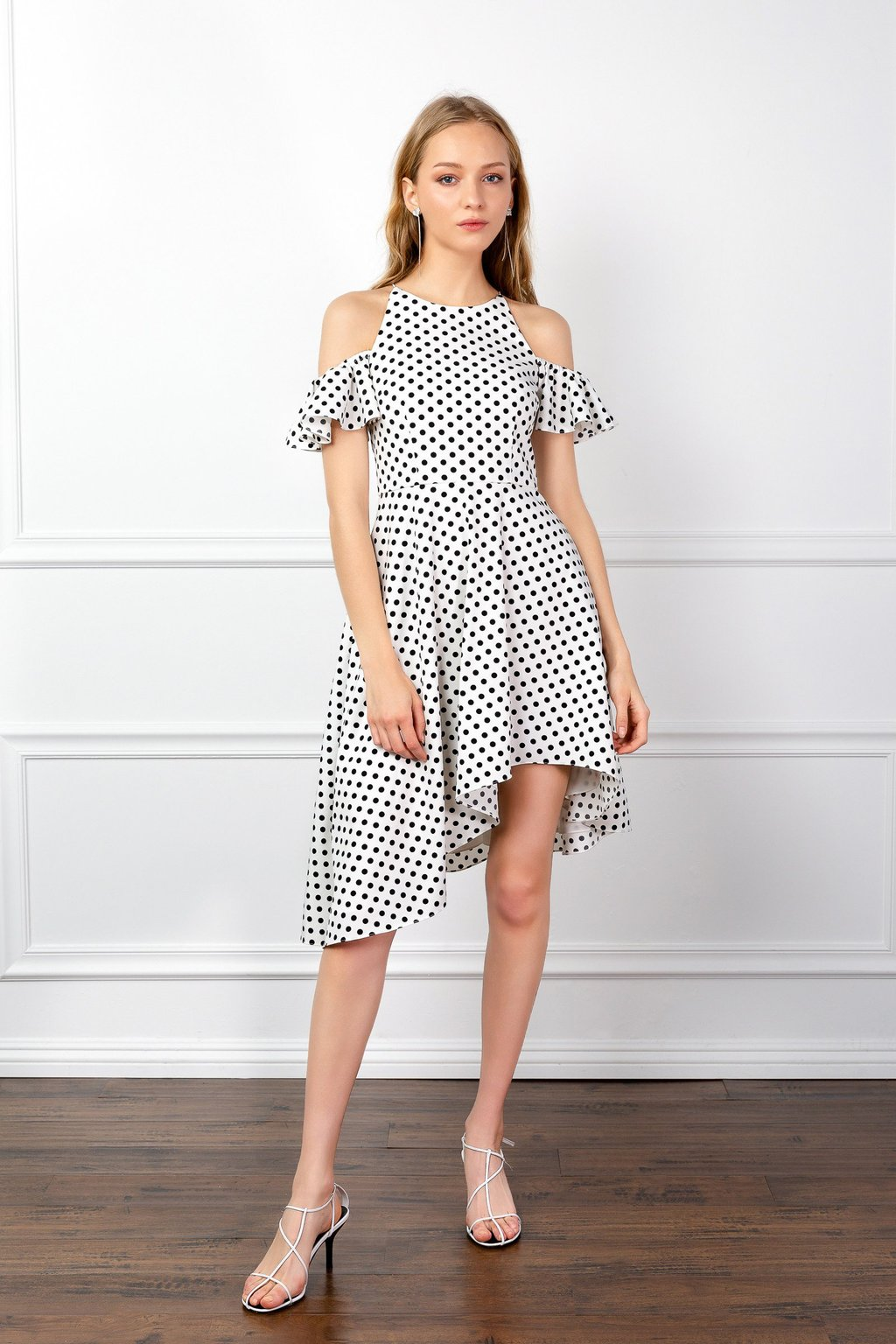 Renee polka dotted asymmetrical dress by J.ING women's fashion