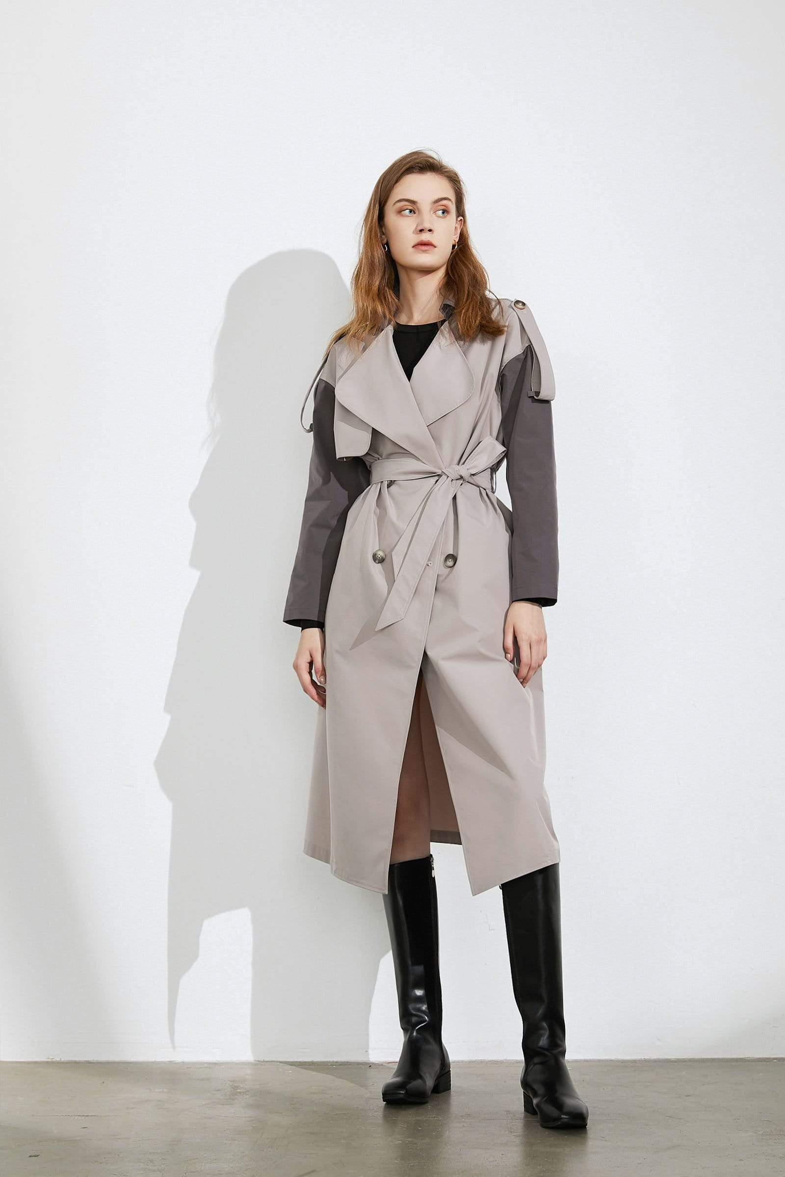 Jacklyn Blue Belted Reefer Coat for Women by J.ING
