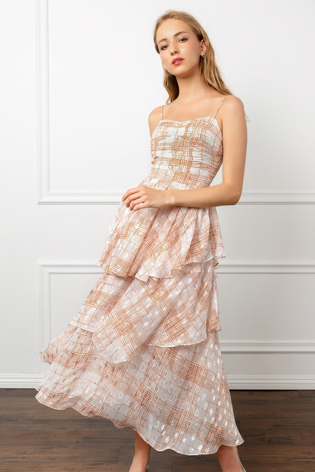 coral peach colored chiffon dress by J.IING