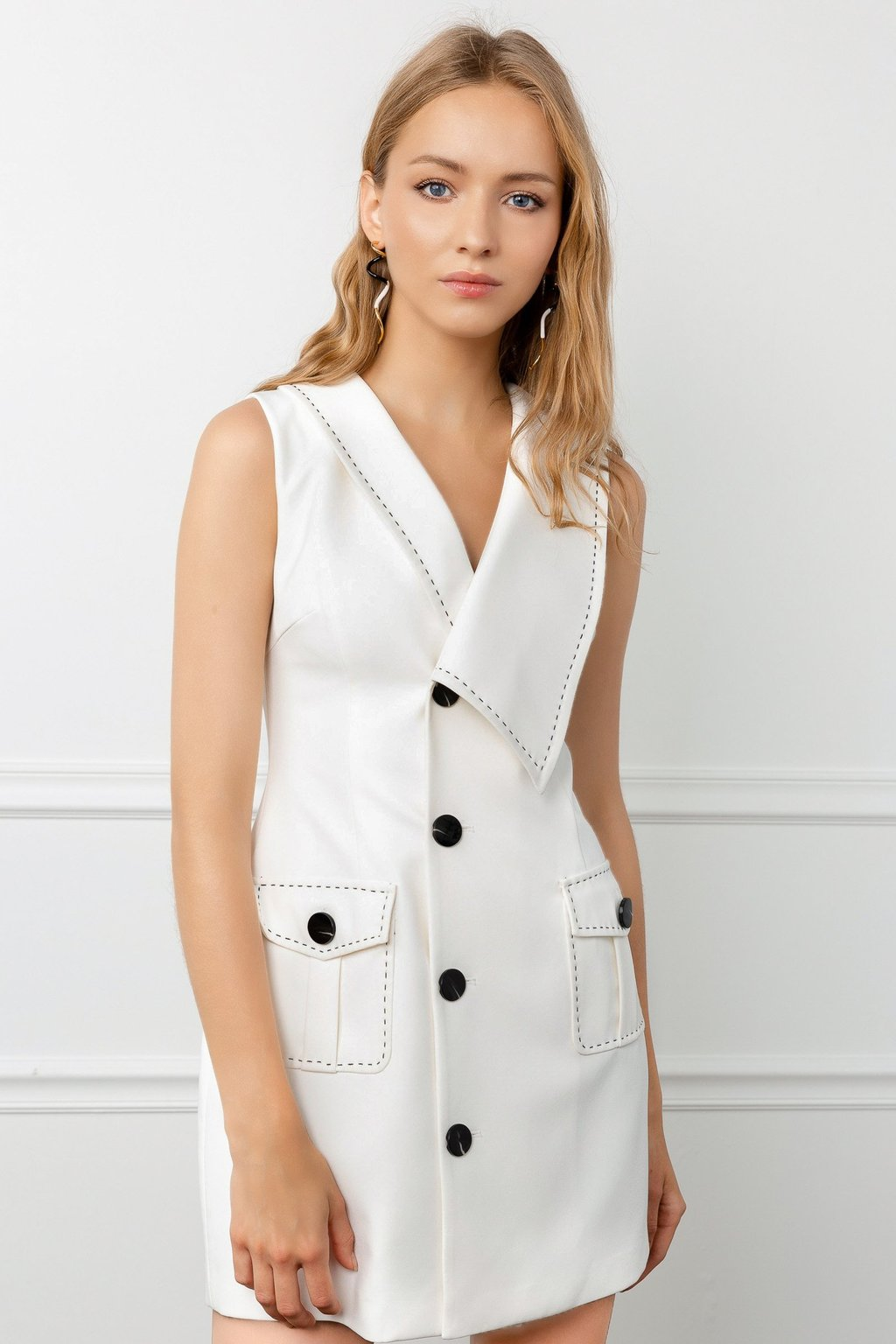 White Sailor Dress and Kensington Earrings by J.ING women's fashion and accessories