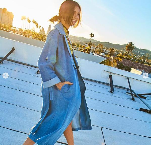 Nina Dobrev in J.ING's jean long jacket coat for women