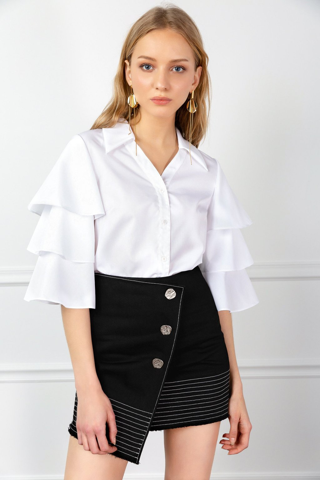 Tiered Lana Blouse and Heirloom Earrings by J.ING women's fashion and accessories