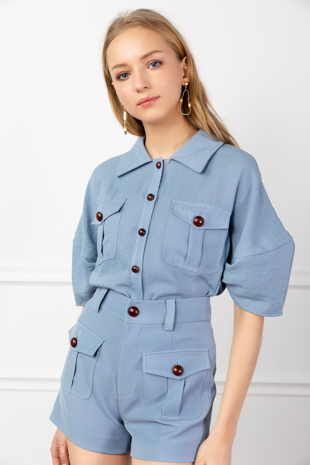 Blue Barry Utility Shirt by J.ING LA women's fashion