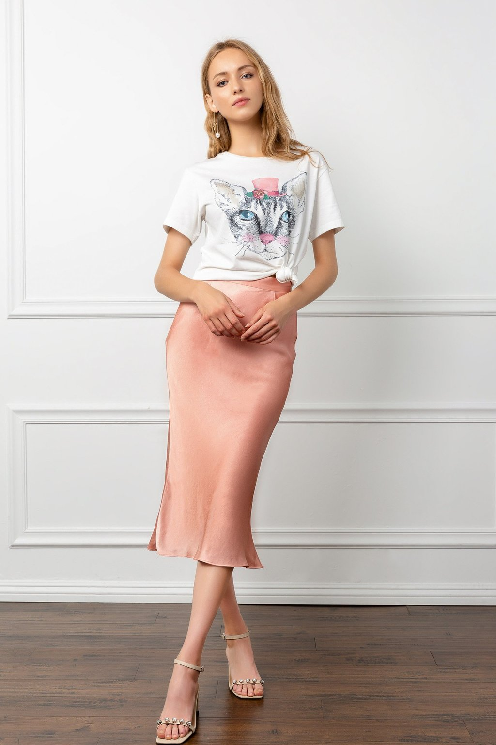 Satin Silky Peach Colored Midi Skirt by J.ING women's fashion clothing