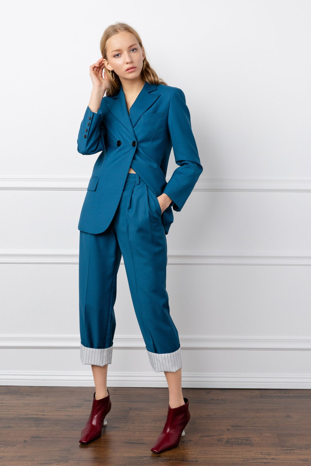 Josie Turquoise Blazer suit set by J.ING women's fashion clothing