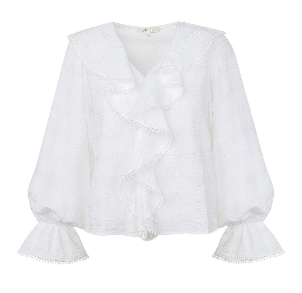 Eleanor White Ruffled Blouse