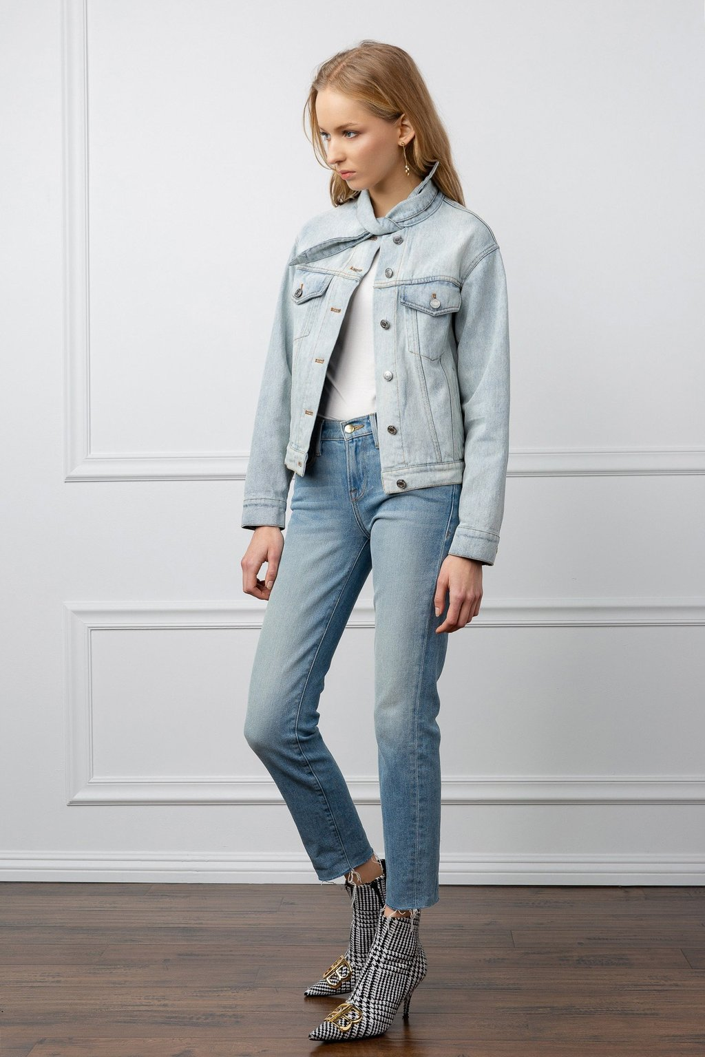True Denim Tied Collar acid washed jacket by J.ING women's clothing