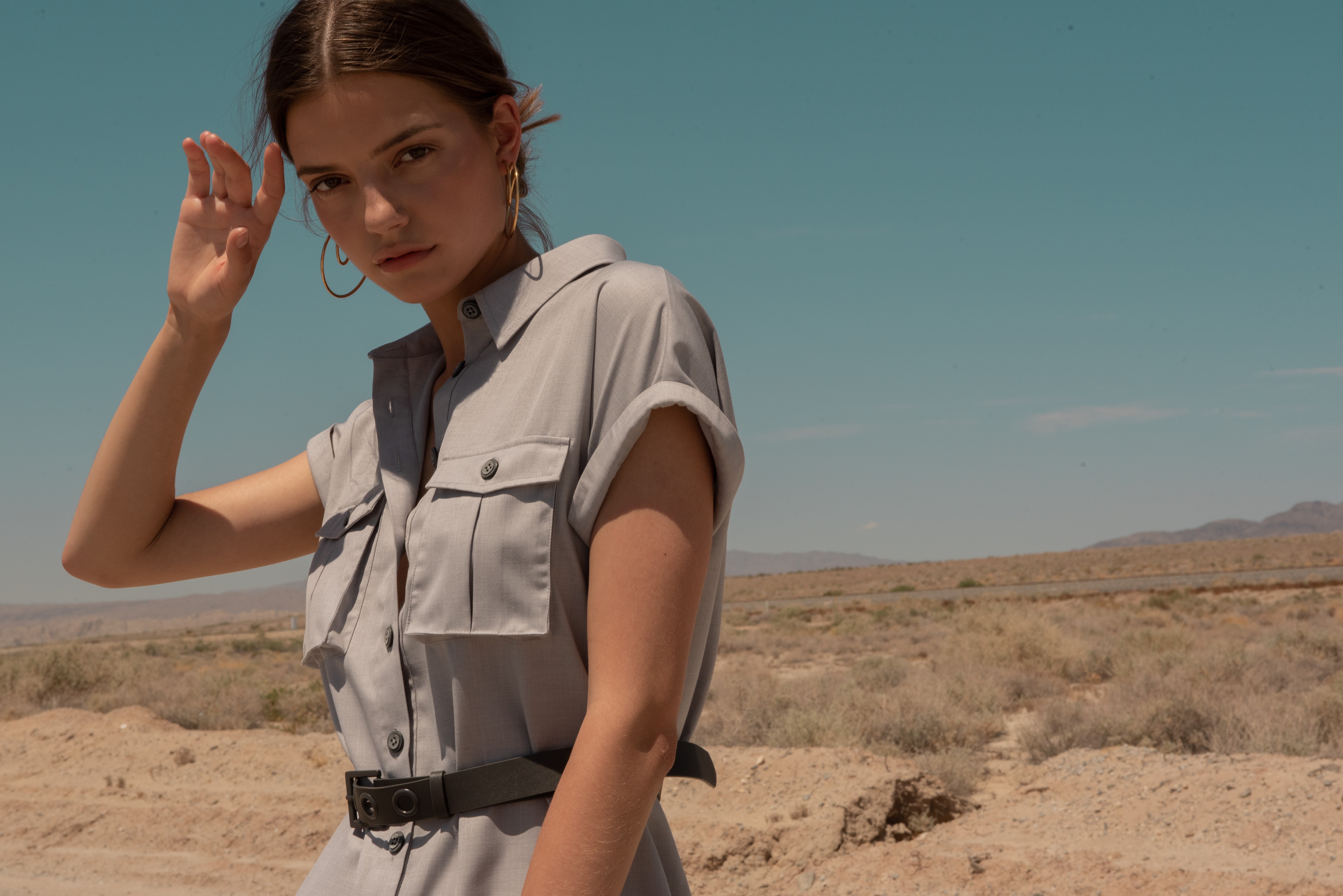 Utility Shirt Dress on model in desert by J.ING women's fashion clothing