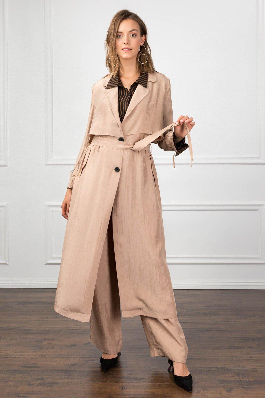 silk tan beige trench coat by j.ing women's clothing