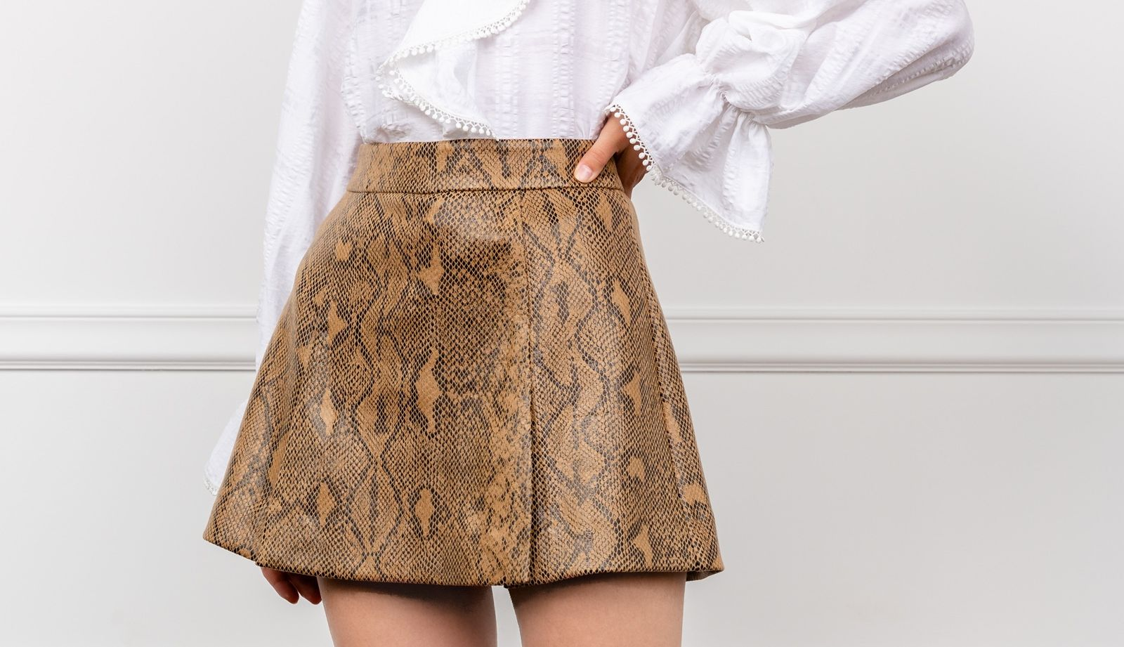 Earth Snakeskin Mini Skirt by J.ING Women's Skirts