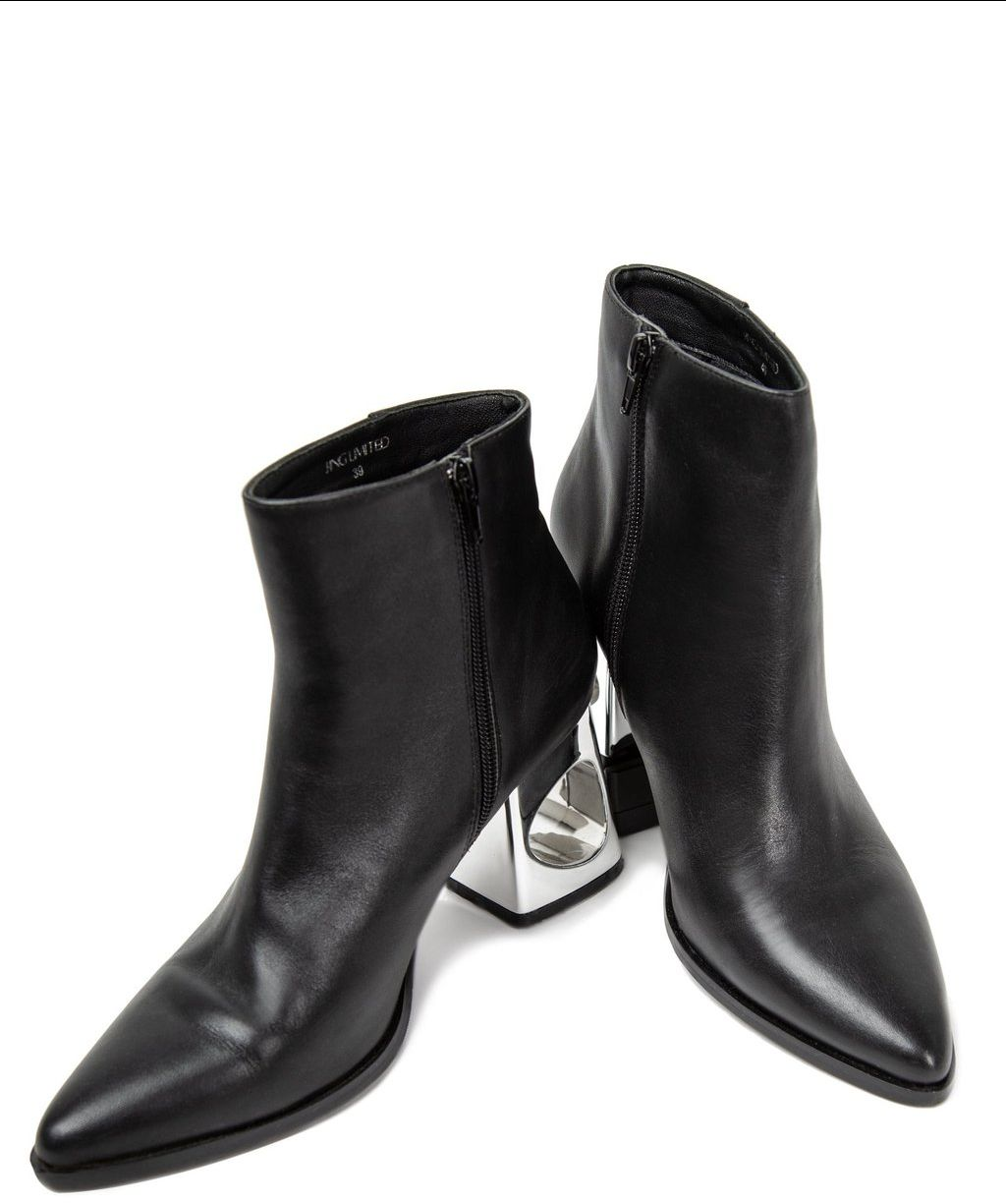 Black Patricia Booties with Metal Heels