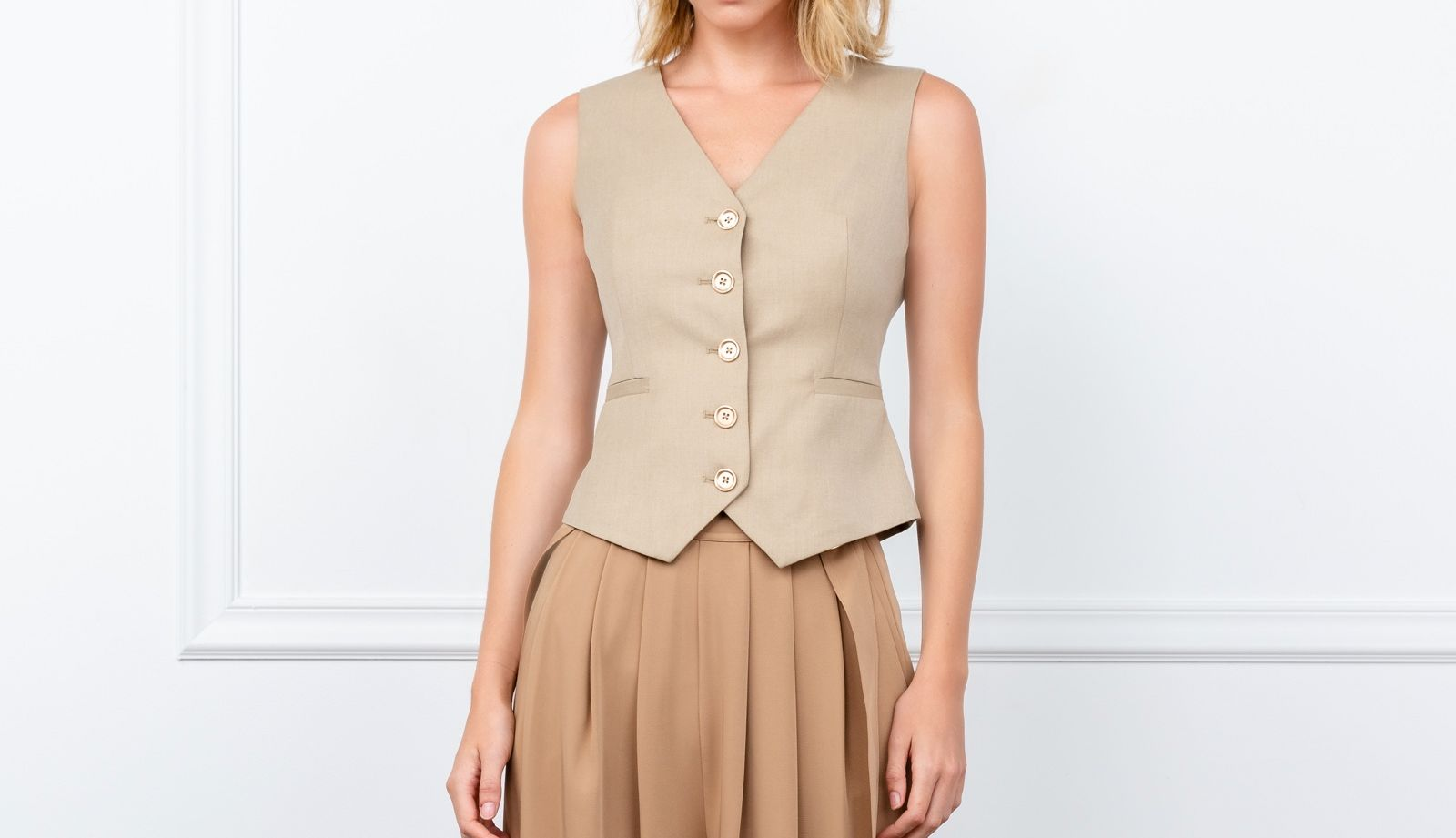 Tan Vestige Button Up Vest by J.ING Women's Tops