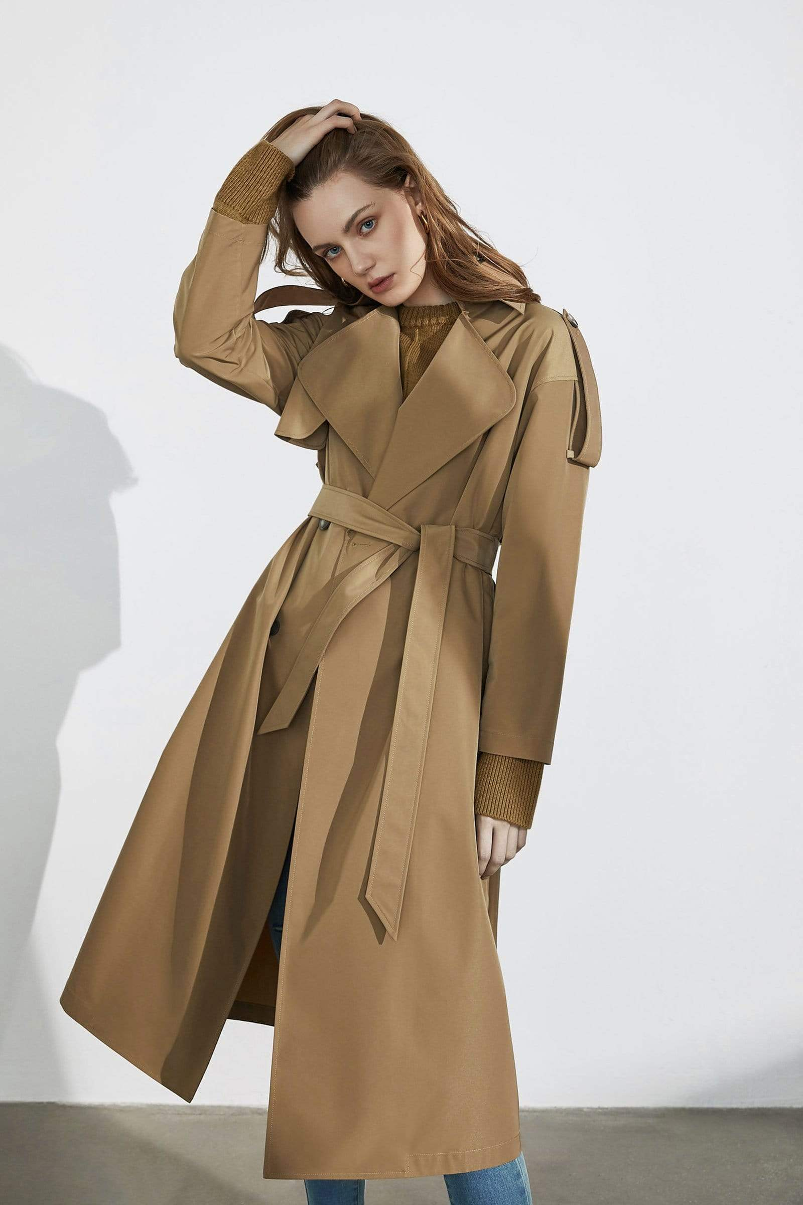 Mixer Brown Trench Coat for Women by J.ING