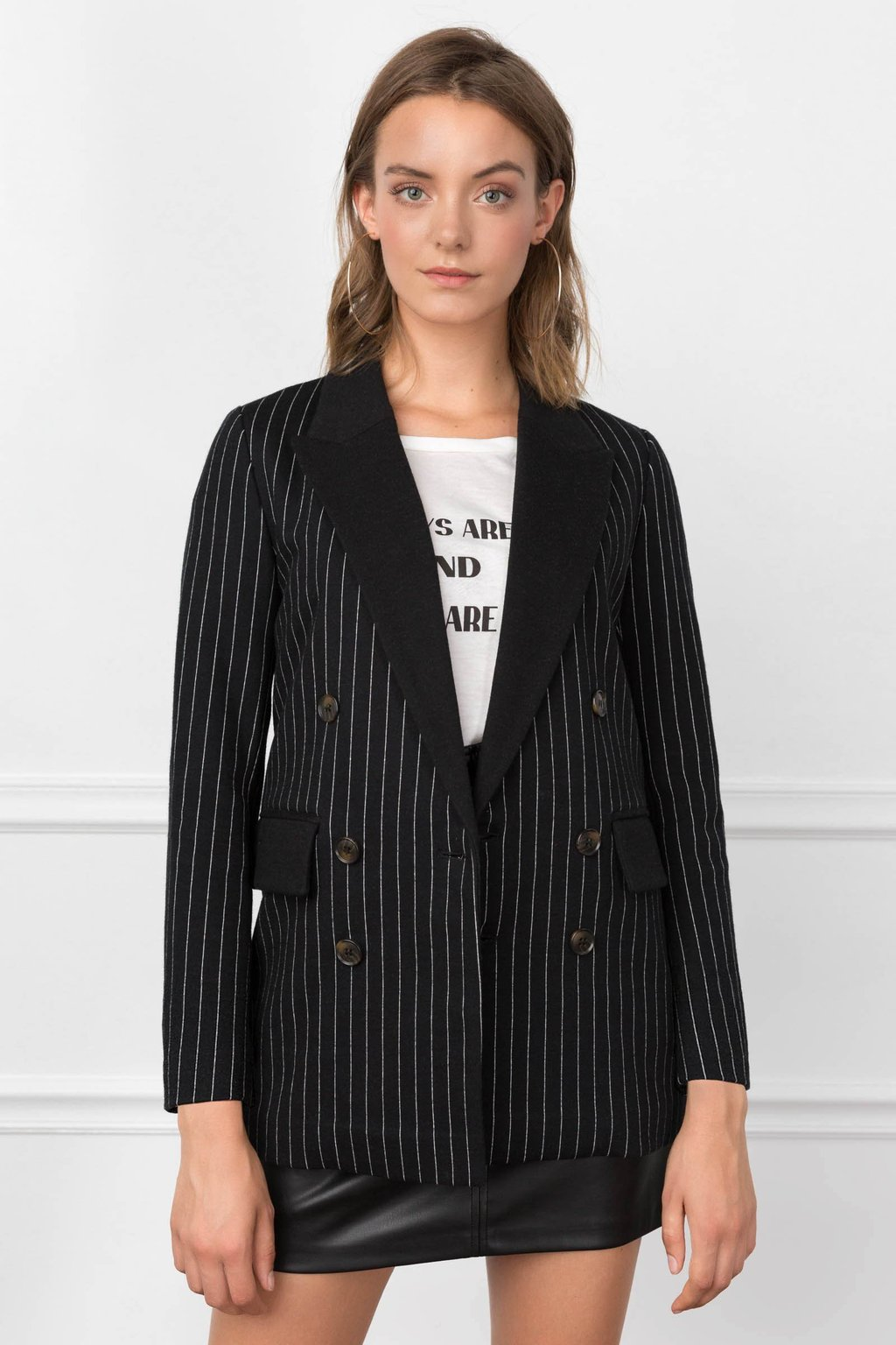 Black Pinstriped Women's blazer by J.ING