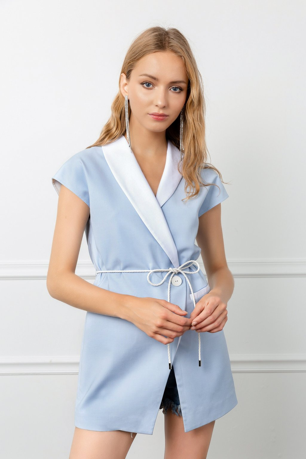 Periwinkle short wrap dress by j.ing women's fashion