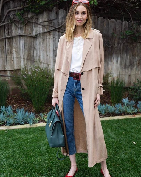 Whitney Wearing J.ING's Beatrice Silk Trench Coat