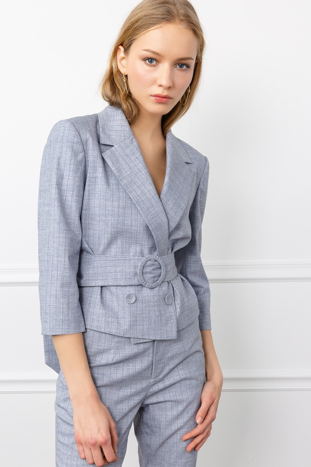 Blue Carmen Belted Blazer Suit Set for women's fashion clothing  by J.ING