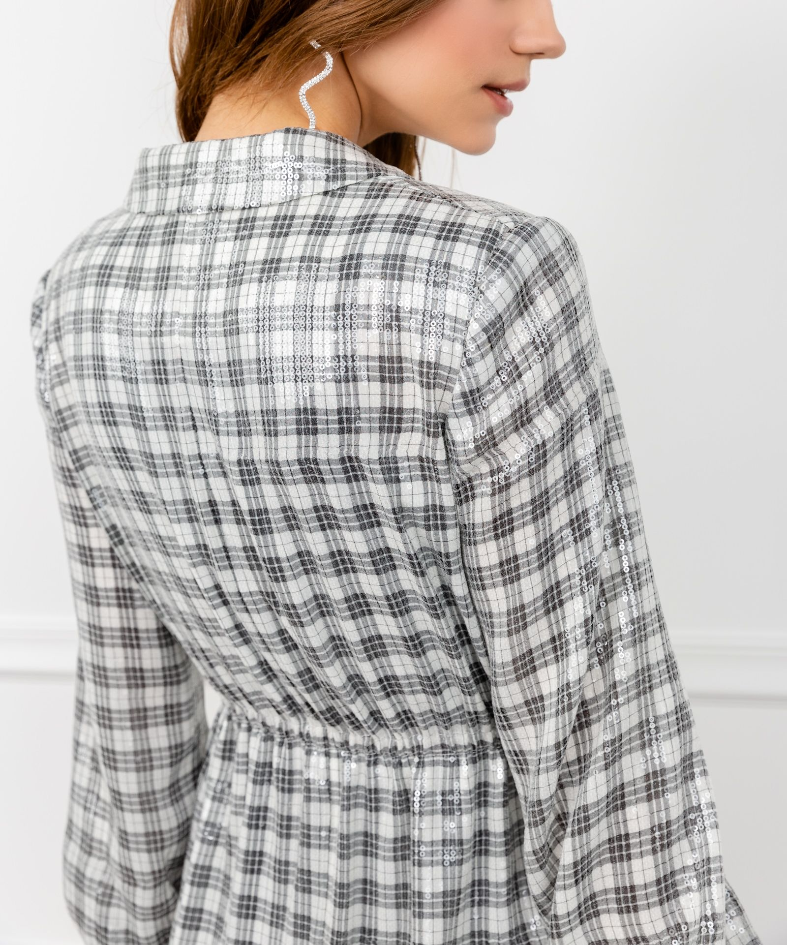 Sequin Gingham Long Sleeve Wrap Jacket by J.ING Women's Jackets