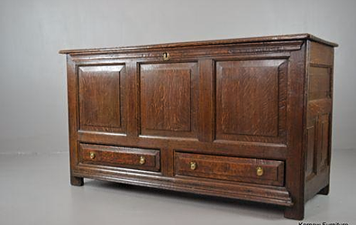 Antique Oak Panelled Mule Chest