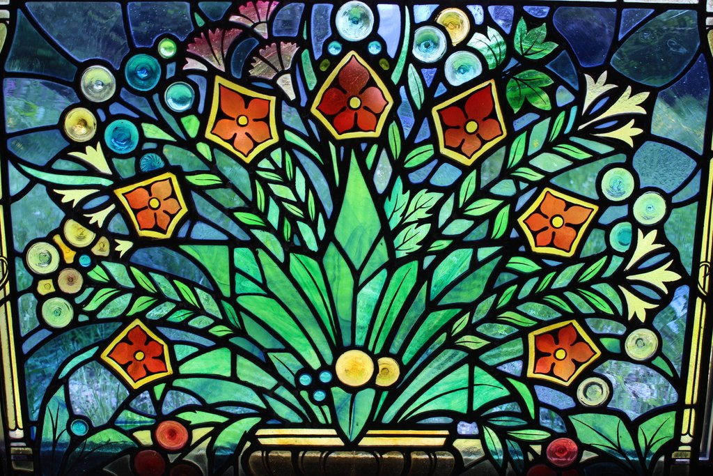 Flower Bowl Stained Glass Panel