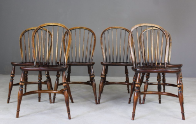 Hoop and Stick back Wooden Dining Chairs