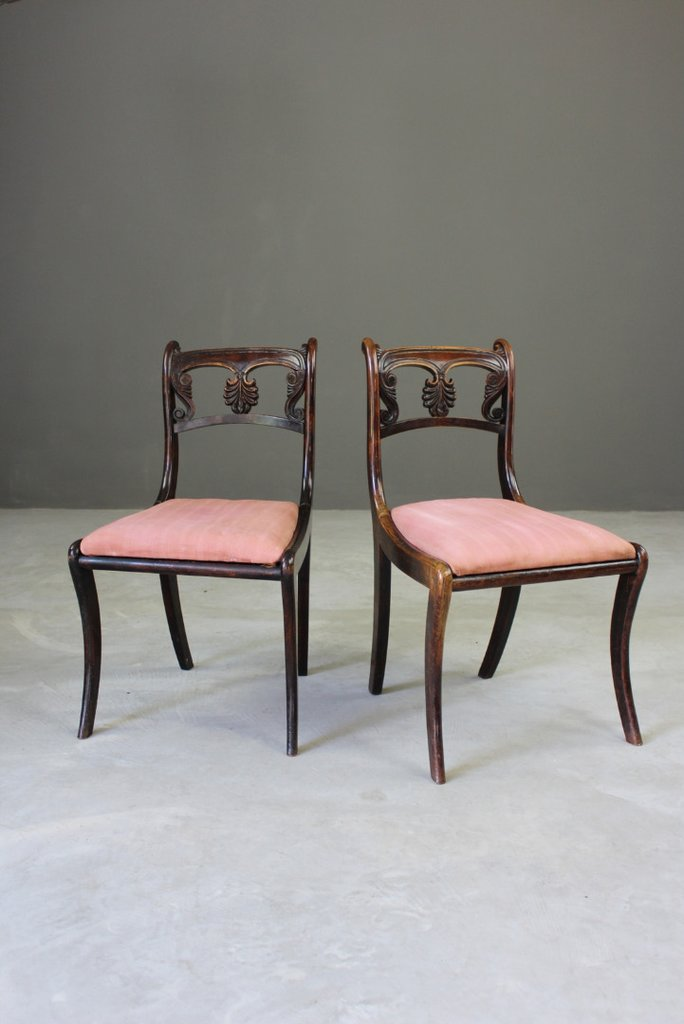 Pair Simulated Rosewood Dining Chairs