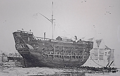 Prison Ship HMS Discovery at Deptford