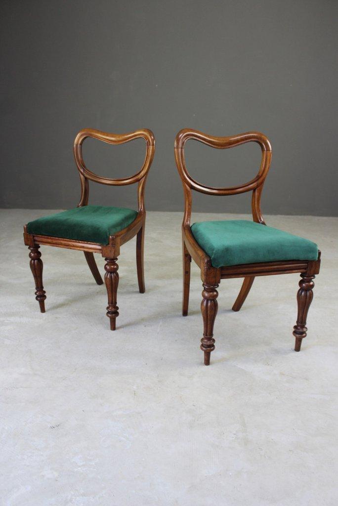 Pair Victorian Mahogany Balloon Back Dining Chairs