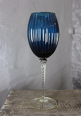 Large Blue Stemmed Glass