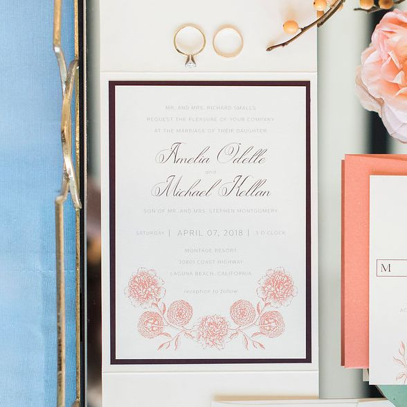 Coral and burgundy wedding invitation