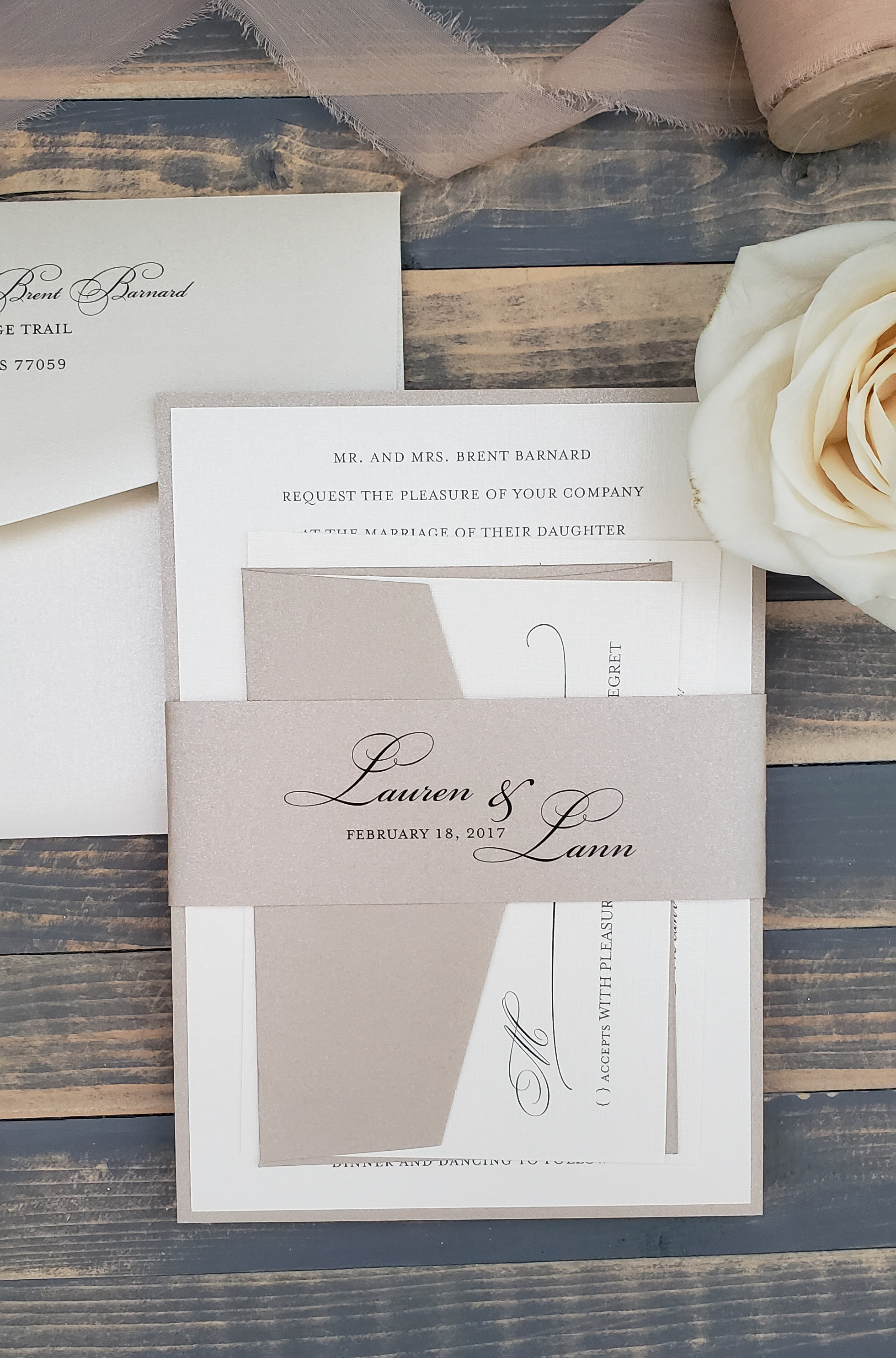 nude wedding invitation with belly band