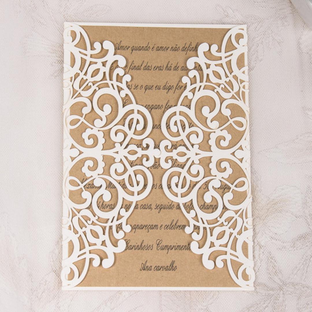 Rectangle Laser Cut Wedding Invitations