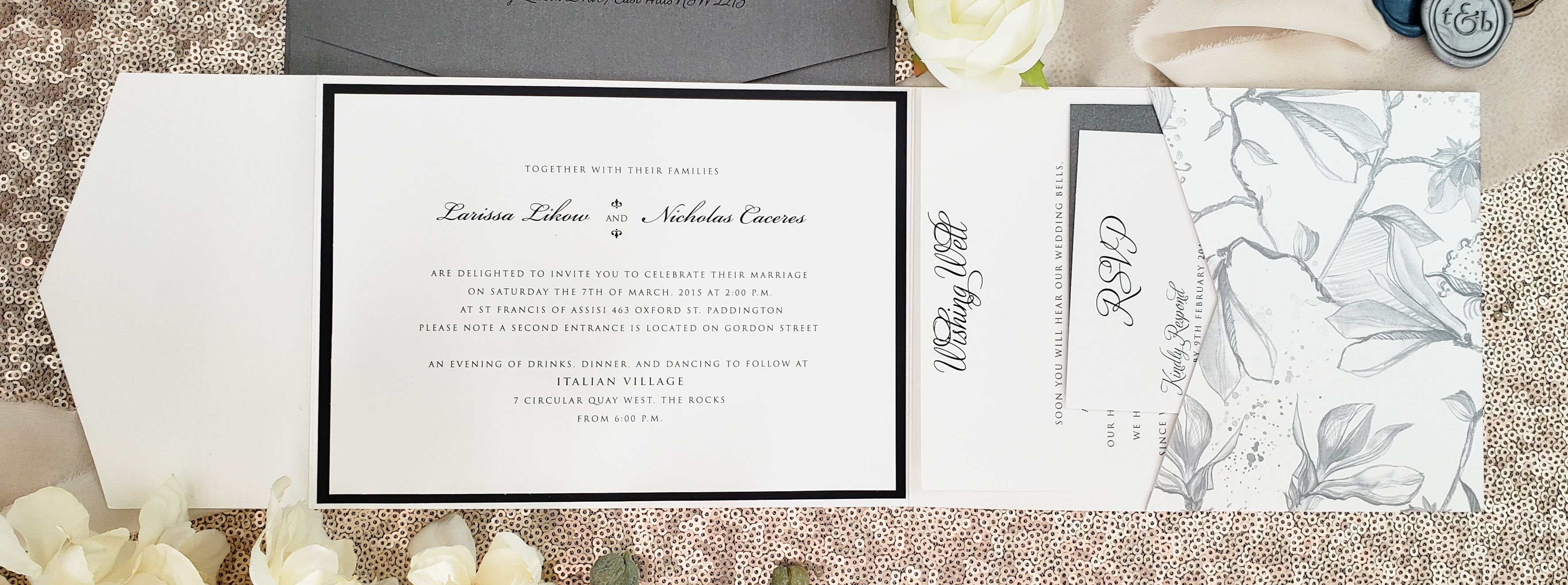 classic wedding pocket invitation