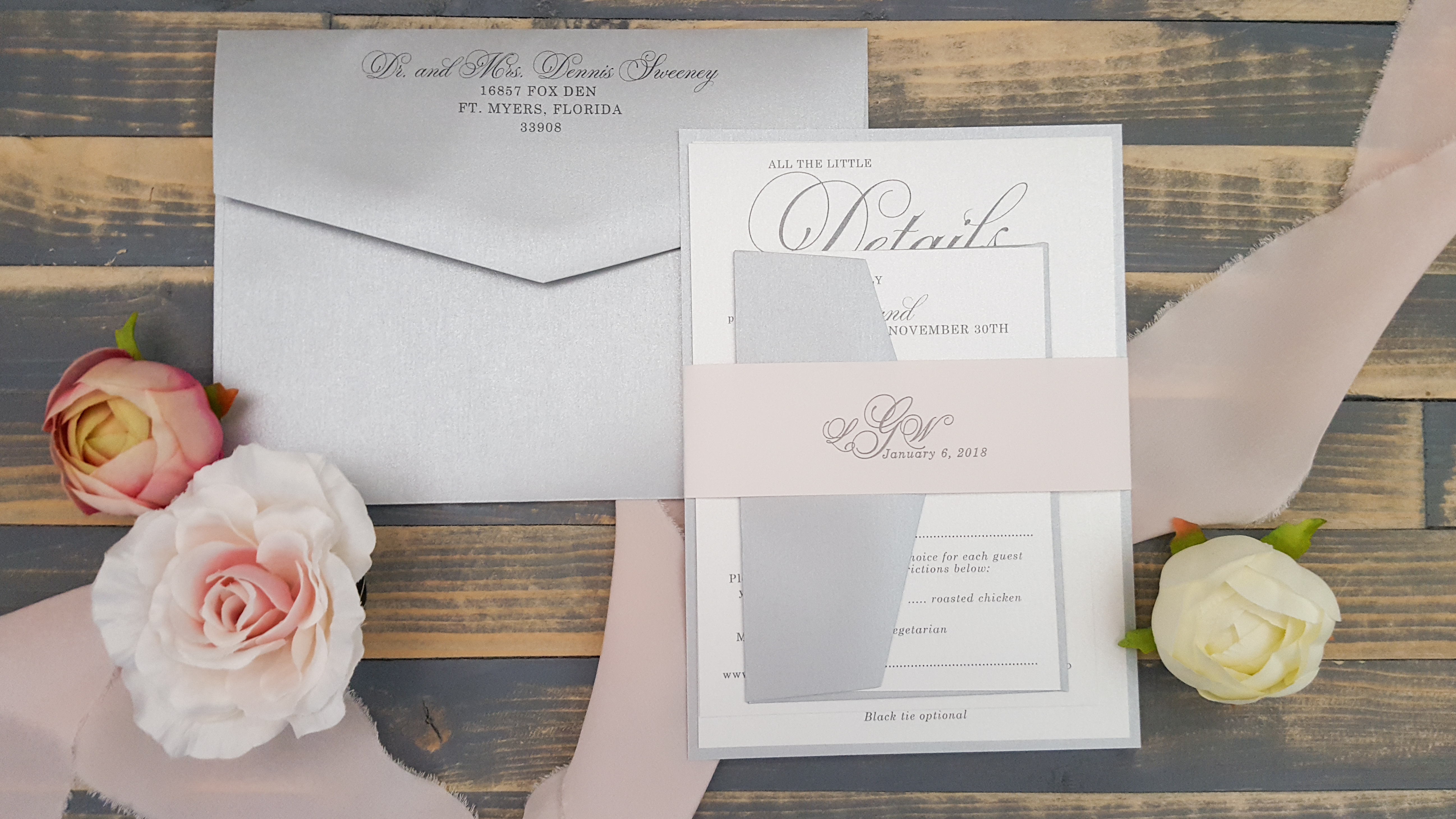 pink belly band wedding invitation