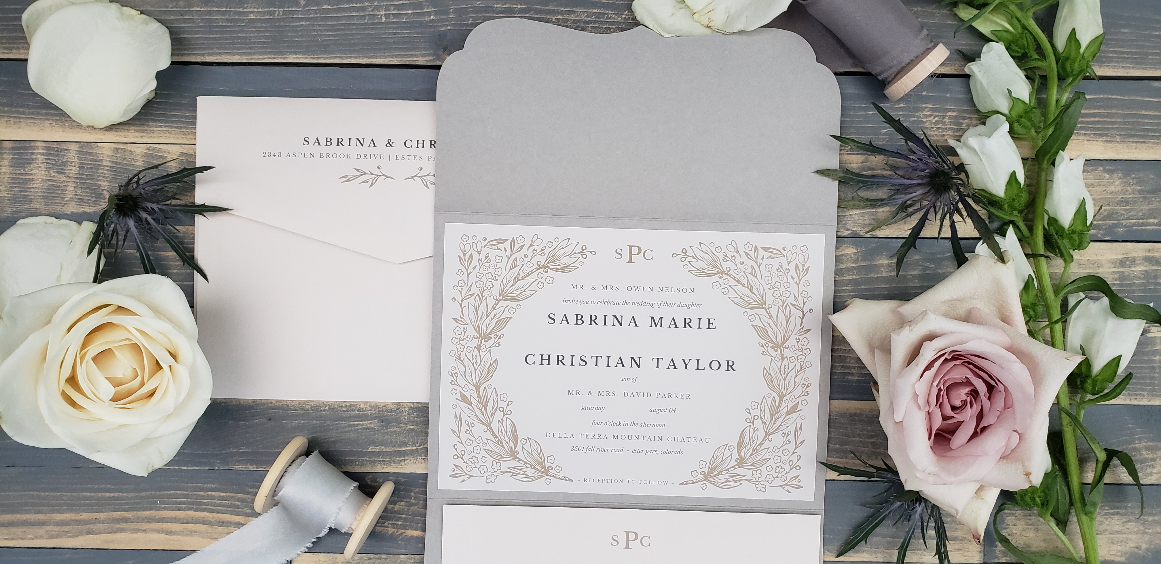 Classic Fall Neutral Wedding Invitation: Sabrina and Christian