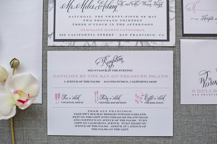 Wedding invitations timeline of events