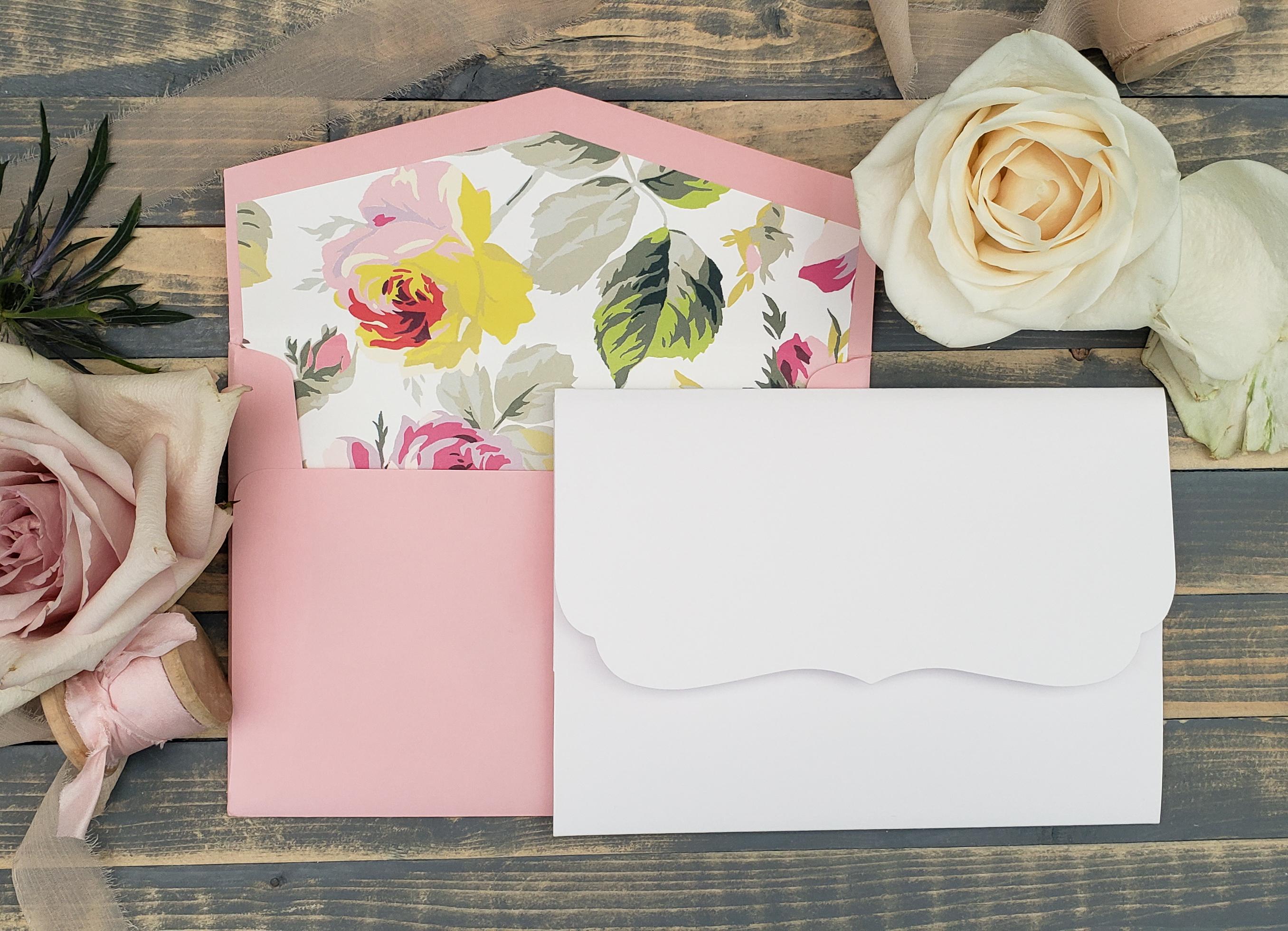 pink floral envelope liner