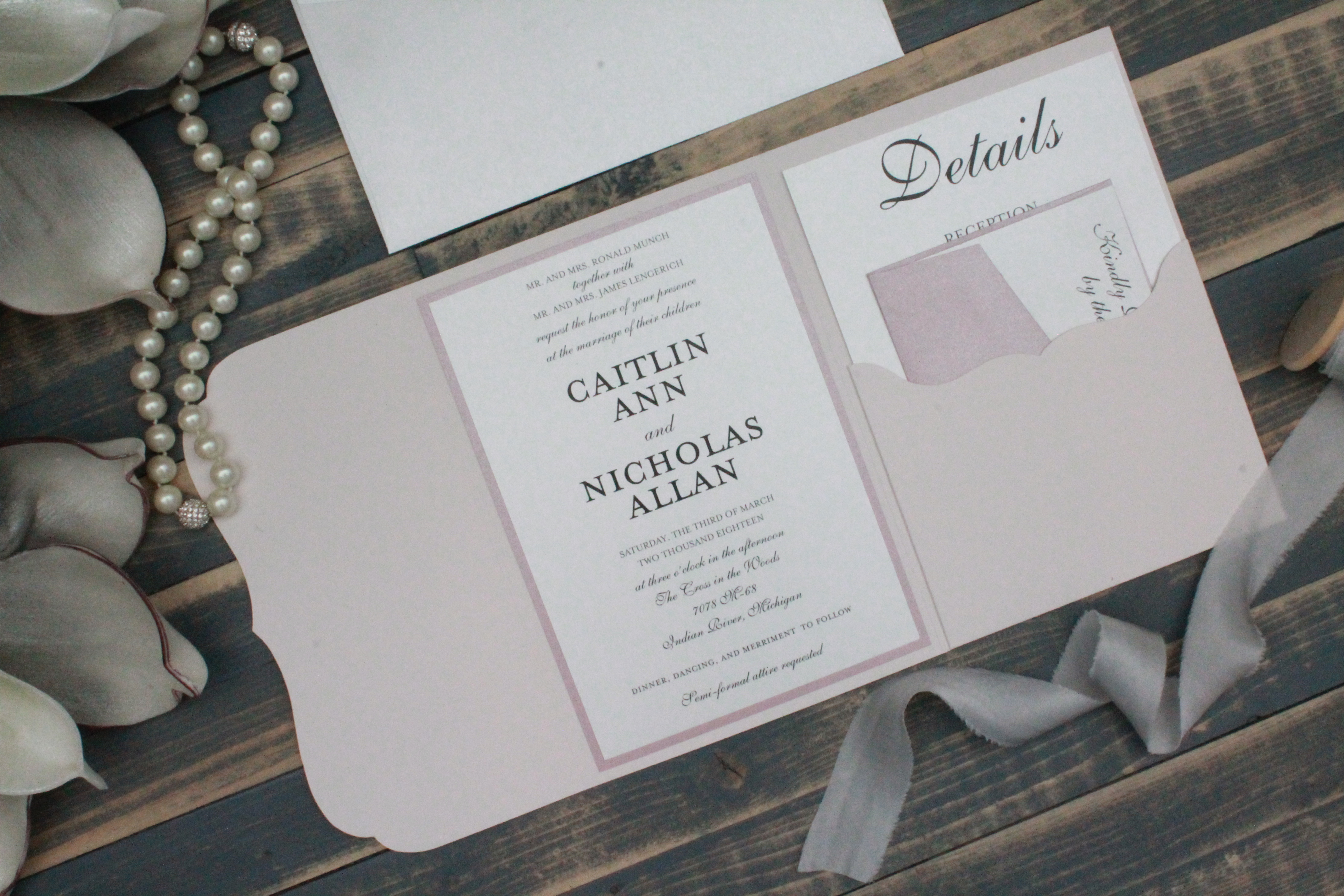 Dusty pink and blush pink pocket wedding invitation
