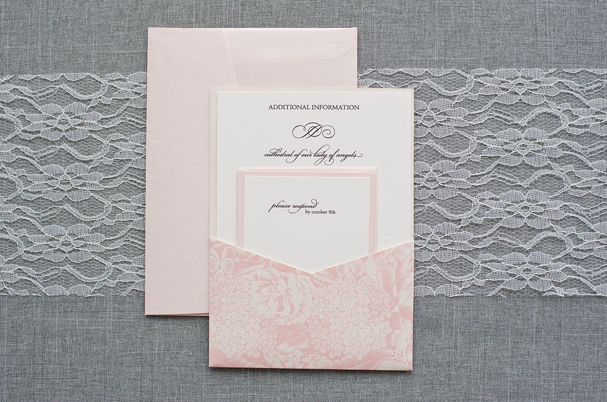 blush pink wedding invitation