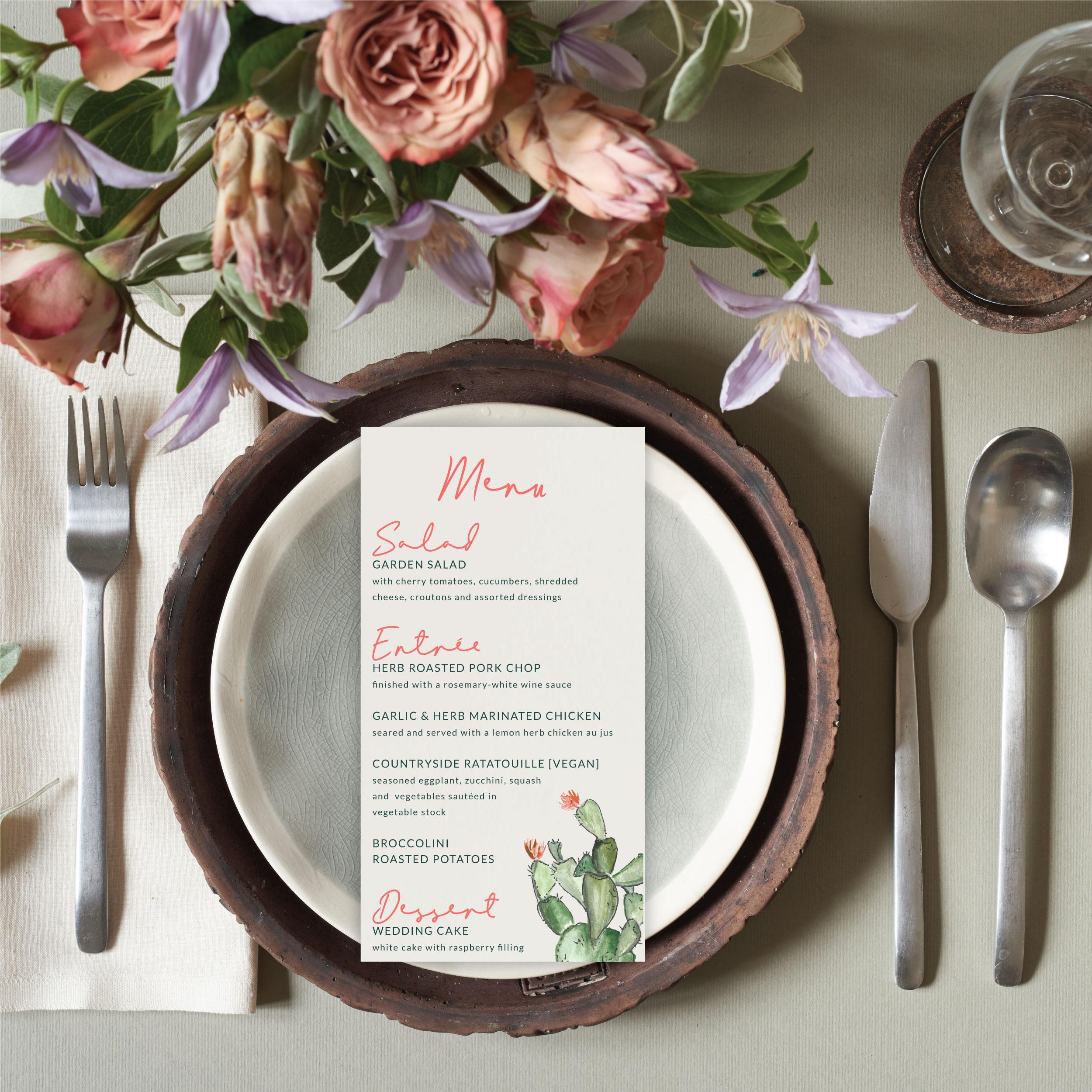 cactus wedding menu