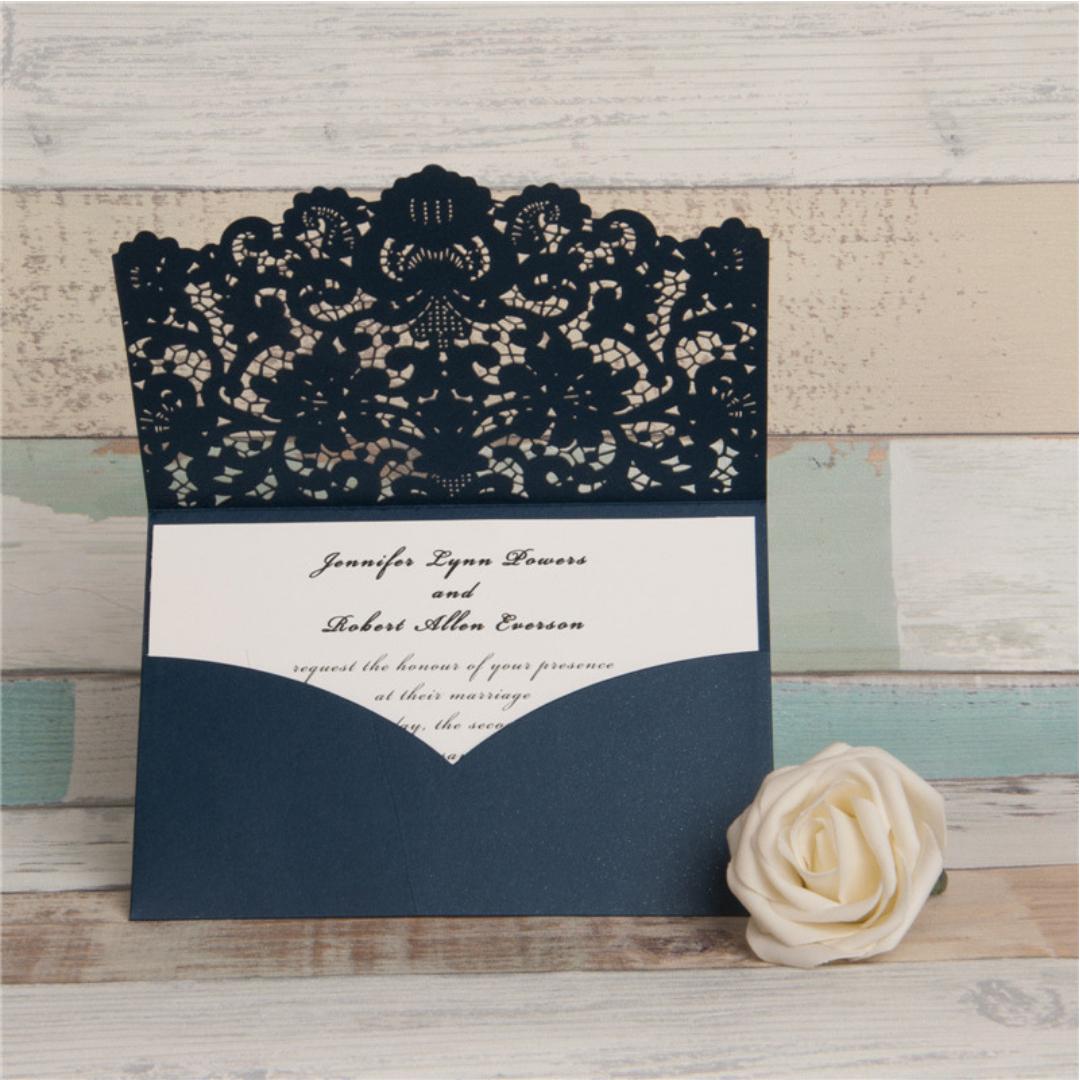 Pocket Laser Cut Wedding Invitations