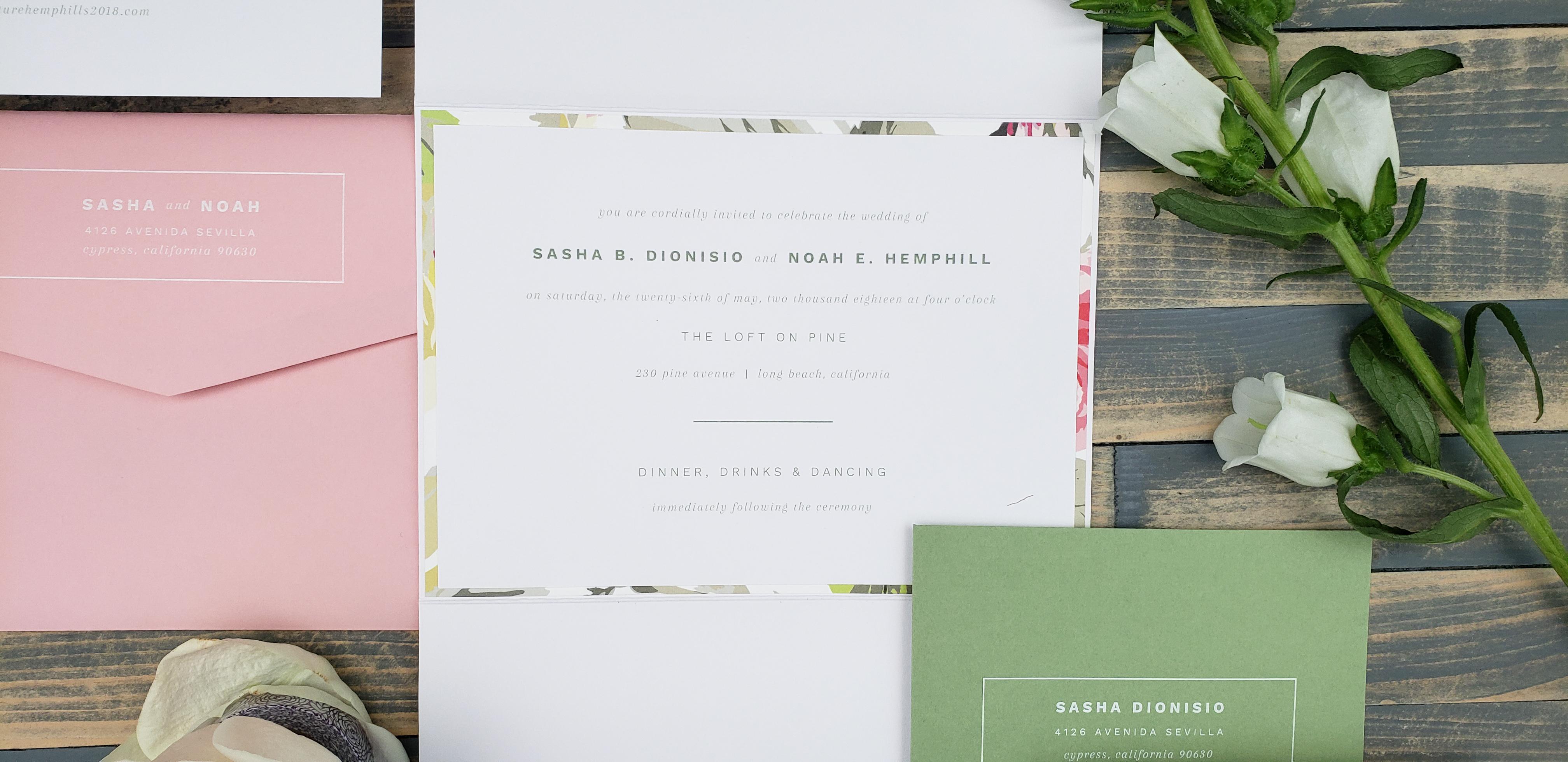 Minimalist floral wedding invitations