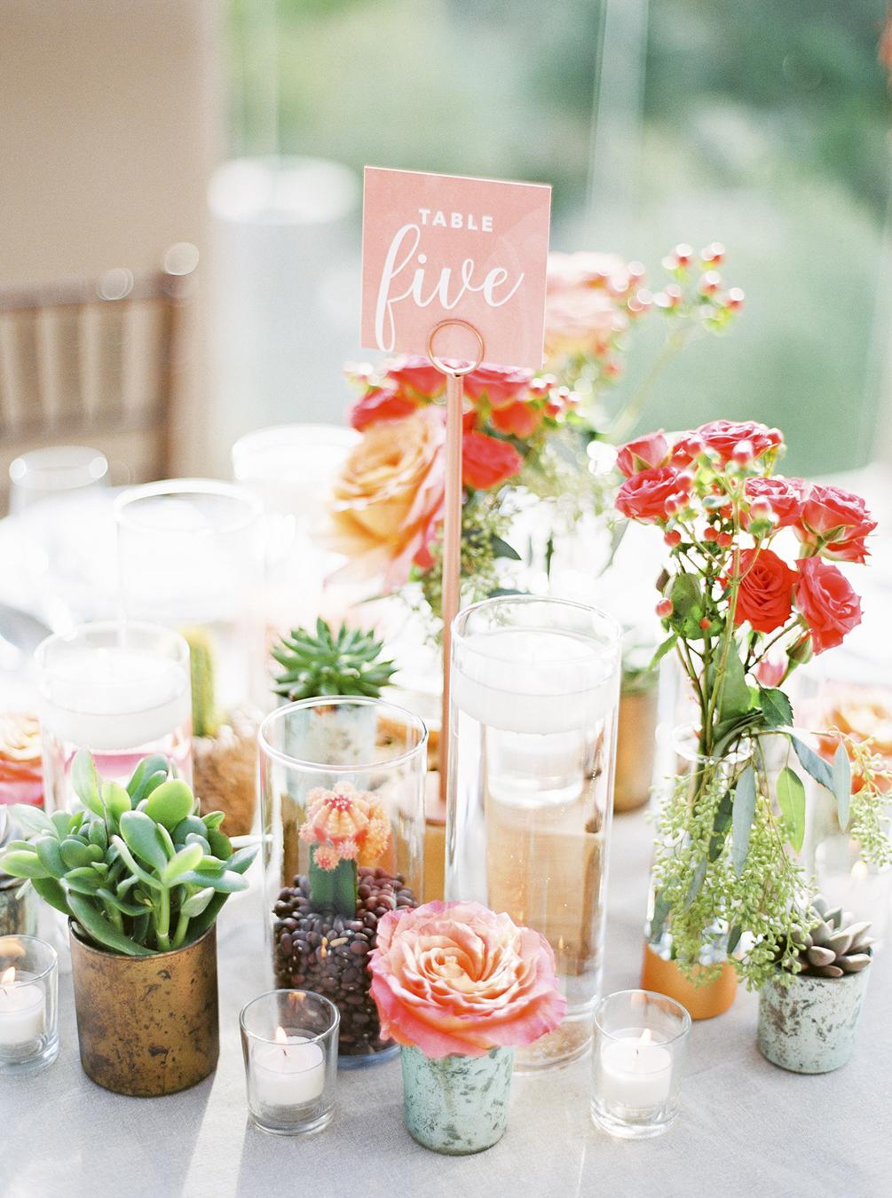 Bright Floral Succulent Centerpieces